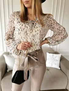 Brązowa bluzka Perfe z długim rękawem