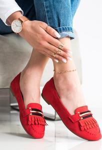 Czerwone buty Czasnabuty z płaską podeszwą