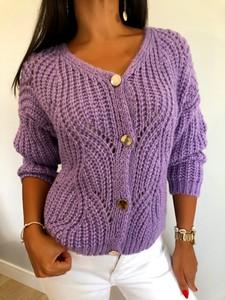 Fioletowy sweter ModnaKiecka.pl w stylu casual