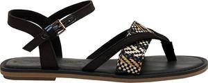 Czarne sandały Toms z klamrami z płaską podeszwą w stylu casual