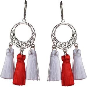 Polcarat Design Srebrne kolczyki frędzle / miotełki / chwost K 3002 biało-czerwone