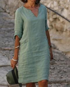 Zielona sukienka Kendallme w stylu casual z lnu oversize