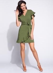 Zielona sukienka Bien Fashion z bawełny z dekoltem w kształcie litery v kopertowa