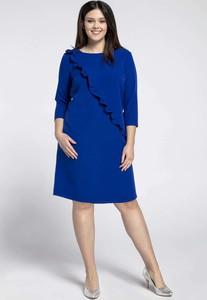 Niebieska sukienka Nommo z okrągłym dekoltem z długim rękawem
