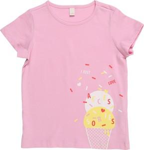 Różowa bluzka dziecięca Esprit z krótkim rękawem z dżerseju