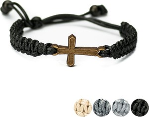 Drewniana bransoletka BEWOOD Krzyż Aniegre Pleciona