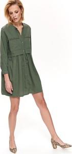 Zielona sukienka Top Secret z kołnierzykiem w stylu casual z długim rękawem