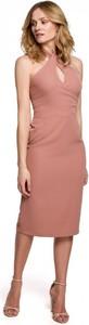 Różowa sukienka Makover midi z dekoltem w kształcie litery v