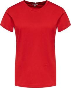 Czerwony t-shirt Tommy Hilfiger z okrągłym dekoltem