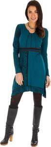 Niebieska sukienka Aller Simplement z długim rękawem mini
