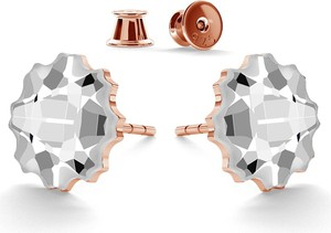 GIORRE SREBRNE KOLCZYKI DUŻE MEDUZY SWAROVSKI 925 : Kolor kryształu SWAROVSKI - Crystal, Kolor pokrycia srebra - Pokrycie Różowym 18K Złotem