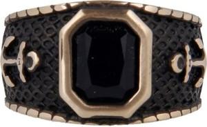 Pietro Ferrante Pierścień z brązu z motywem kotwicy, zdobiony czarnym owalnym kamieniem
