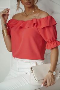 Czerwona bluzka Shopaholics Dream z krótkim rękawem hiszpanka
