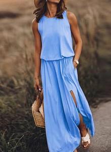 Niebieska sukienka Sandbella maxi na ramiączkach