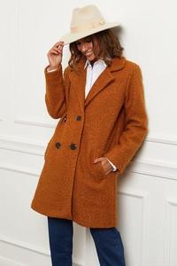 Pomarańczowy płaszcz Le Comptoir Du Manteau z wełny