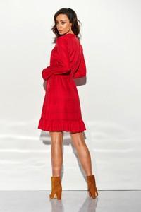 Czerwona sukienka Merg z żabotem w stylu casual