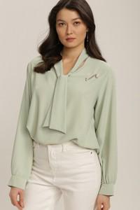 Zielona bluzka Renee w stylu casual z długim rękawem