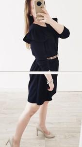 Czarna sukienka Luashop.pl oversize z okrągłym dekoltem z długim rękawem