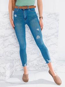 Niebieskie jeansy Edoti z jeansu w stylu casual