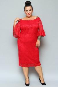 Sukienka KARKO ołówkowa z długim rękawem z okrągłym dekoltem