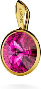 GIORRE SREBRNY WISIOREK SWAROVSKI RIVOLI 925 : Kolor kryształu SWAROVSKI - Fuchsia, Kolor pokrycia srebra - Pokrycie Żółtym 24K Złotem