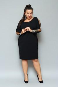 Czarna sukienka KARKO z okrągłym dekoltem midi z długim rękawem