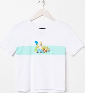 T-shirt Sinsay w młodzieżowym stylu z krótkim rękawem z okrągłym dekoltem