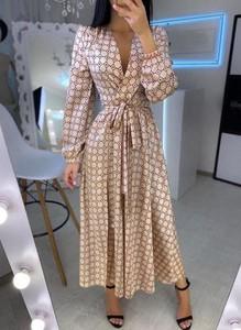 Sukienka Sandbella z dekoltem w kształcie litery v kopertowa maxi