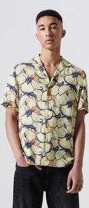 Koszula Cropp z klasycznym kołnierzykiem z krótkim rękawem z nadrukiem