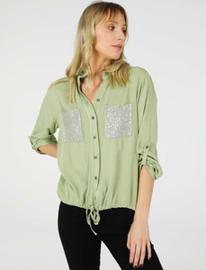 Zielona koszula Unisono z długim rękawem