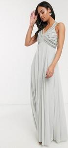 Sukienka Asos maxi z dekoltem w kształcie litery v z tiulu