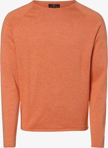 Pomarańczowy sweter Nils Sundström z dzianiny z okrągłym dekoltem w stylu casual