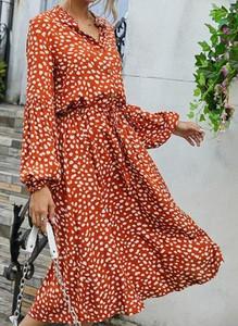 Sukienka Cikelly kopertowa z długim rękawem z dekoltem w kształcie litery v