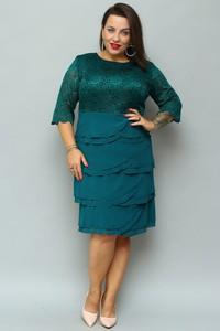 Sukienka KARKO z długim rękawem z okrągłym dekoltem midi