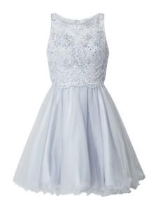 Niebieska sukienka Laona mini z satyny bez rękawów