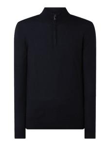 Granatowy sweter Christian Berg Men ze stójką w stylu casual z wełny