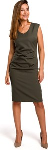 Sukienka Style z dekoltem w łódkę midi z tkaniny