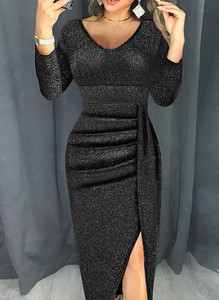 Czarna sukienka Cikelly z długim rękawem maxi z dekoltem w kształcie litery v