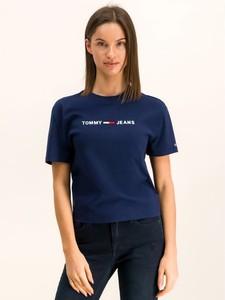 Granatowy t-shirt Tommy Jeans z okrągłym dekoltem z krótkim rękawem w stylu casual