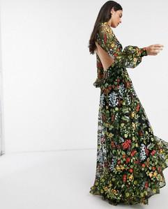 Sukienka Asos maxi z długim rękawem z odkrytymi ramionami