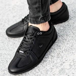 Czarne buty sportowe Lacoste w sportowym stylu