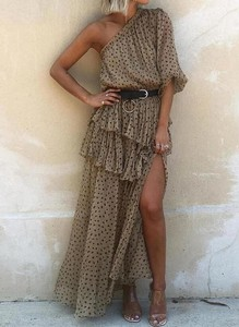 Brązowa sukienka Cikelly maxi z długim rękawem trapezowa