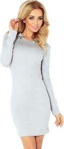 Sukienka NUMOCO mini z długim rękawem z kołnierzykiem