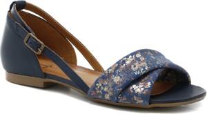 Granatowe sandały Maciejka ze skóry