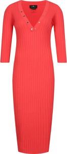 Sukienka Elisabetta Franchi w stylu casual z dekoltem w kształcie litery v z długim rękawem