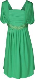 Zielona sukienka Fokus maxi z dekoltem w karo