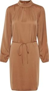 Brązowa sukienka Saint Tropez w stylu casual z długim rękawem