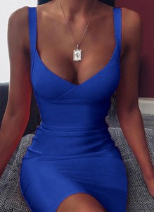 Niebieska sukienka Cikelly dopasowana z dekoltem w kształcie litery v mini