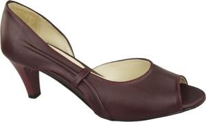 Brązowe sandały Jankobut ze skóry na obcasie na średnim obcasie