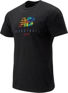 Czarny t-shirt New Balance z krótkim rękawem z bawełny w sportowym stylu